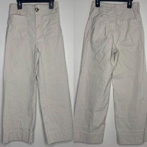 ANTHROPOLOGIE | Khaki High Rise Wide Leg Trousers